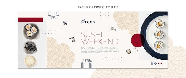 Modelo de capa do facebook de comida de design plano