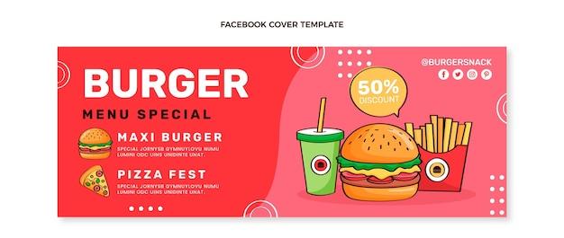 Modelo de capa do facebook de comida desenhada à mão