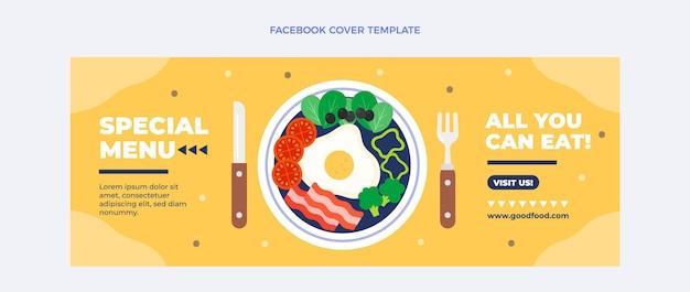 Modelo de capa do facebook de comida plana