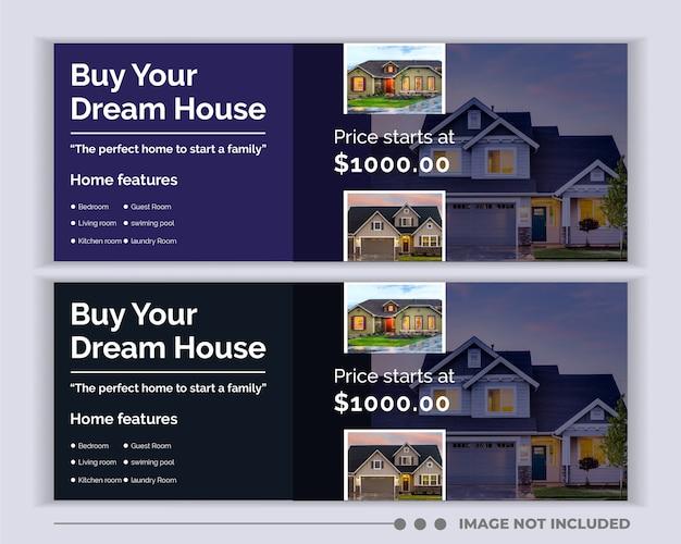 Modelo de capa do facebook de mídia social de banner imobiliário