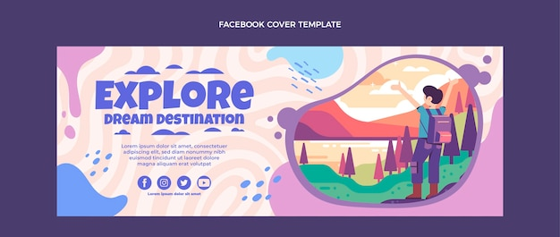 Modelo de capa do facebook de viagens de design plano