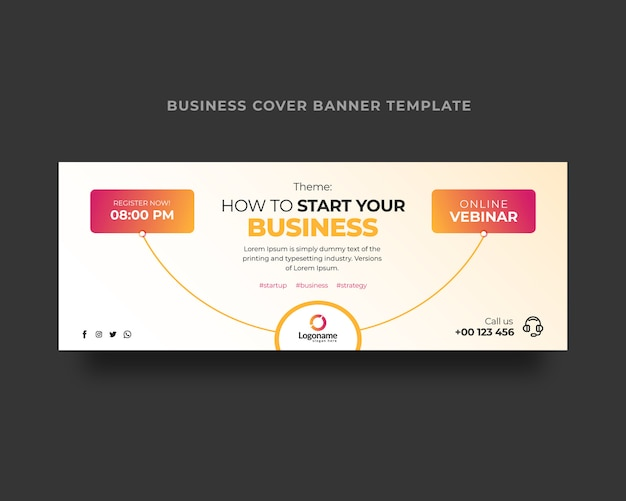 Modelo de capa do facebook de webinar de negócios online