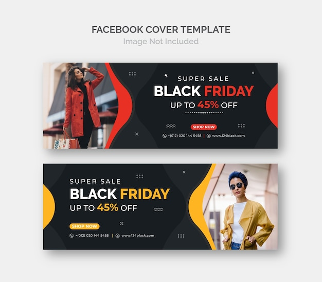Modelo de capa do facebook do banner de venda promocional do black friday business.