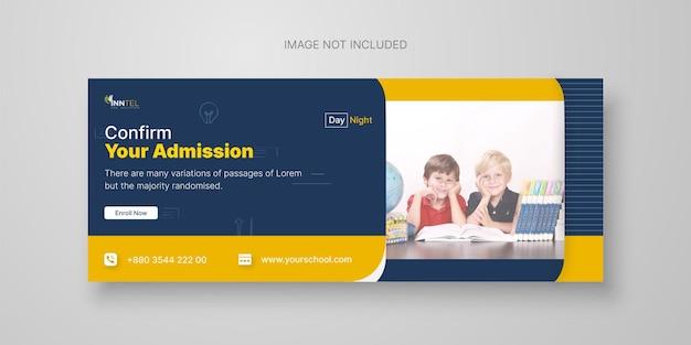 Modelo de capa do facebook para admissão escolar vetor premium