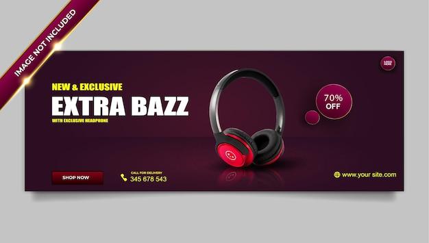 Modelo de capa do facebook para venda de produto de marca de fone de ouvido de luxo