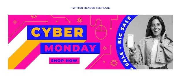 Modelo de capa do twitter de cibernética plana segunda-feira