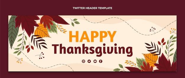 Modelo de capa do twitter desenhado à mão para o dia de ação de graças