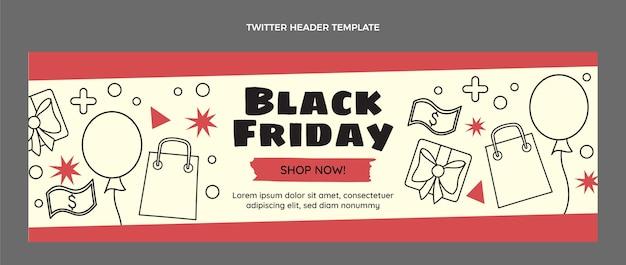 Modelo de capa do twitter preto e plano desenhado à mão