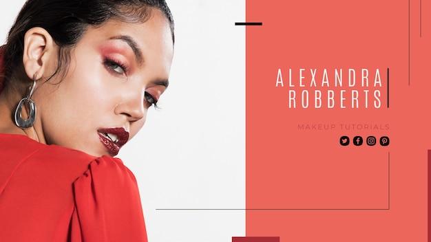 Modelo de capa do youtube de maquiagem