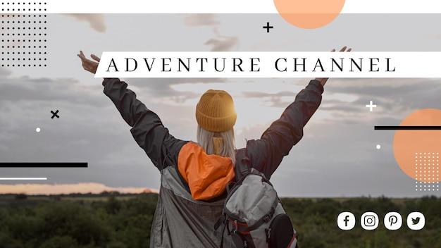 Modelo de capa do youtube para viagens