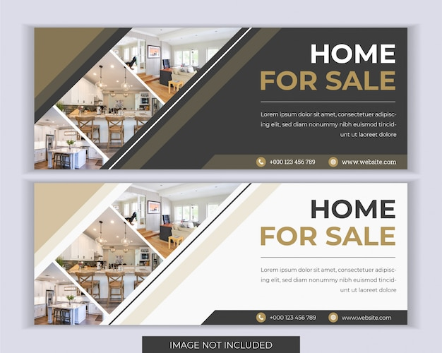 Modelo de capa imobiliária web banner mídia social.