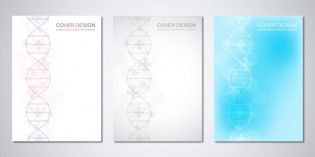 Modelo de capa ou brochura, com fundo de moléculas e fita de dna