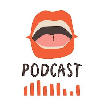 Modelo de capa para show de podcast. abra a boca falante com lábios vermelhos. projeto de tendência do vetor.