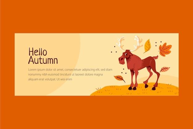 Modelo de capa plana de outono desenhado à mão para mídia social
