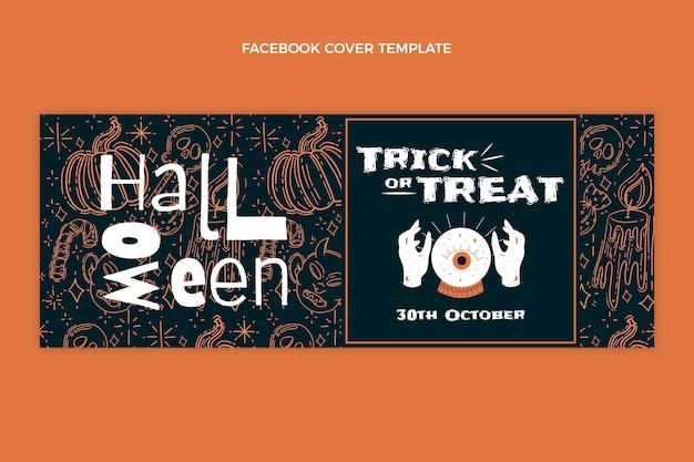 Modelo de capa plana desenhada à mão para mídia social de halloween
