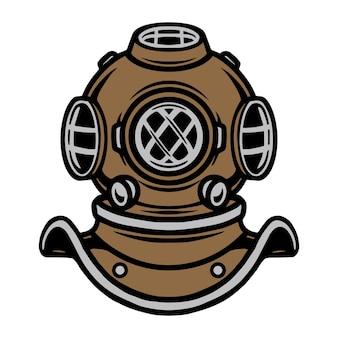 Modelo de capacete de mergulhador colorido em ilustração vetorial isolada de estilo vintage
