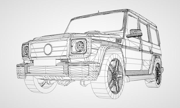 Modelo de carro com uma ilustração de design clássico
