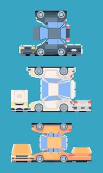 Modelo de carro de passageiros para corte de conjunto de montagem. carros coloridos de papel cortando e colando crianças e adultos interessantes, criando sua própria coleção única de brinquedos raros.
