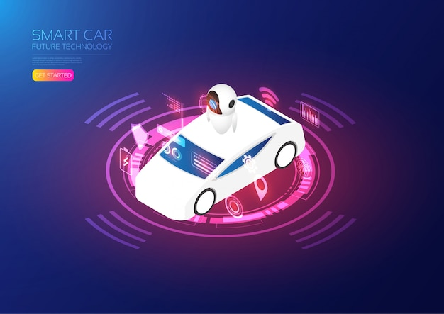 Modelo de carro inteligente isométrico