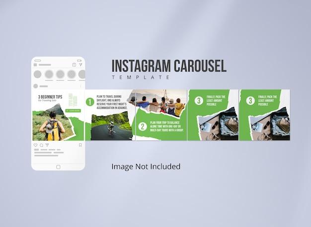 Modelo de carrossel do instagram para viagens