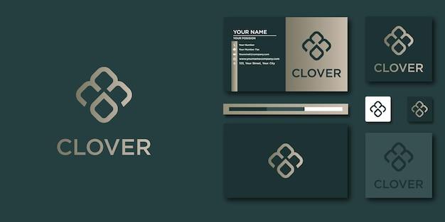 Modelo de carta de logotipo de trevo com conceito moderno e cartão de visita