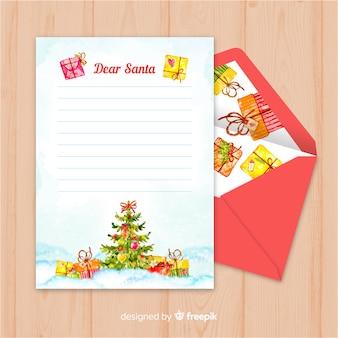 Modelo de carta de natal de árvore de natal de pintados à mão