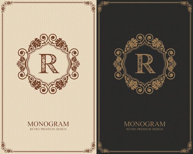 Modelo de carta emblema r, elementos de design do monograma, modelo gracioso caligráfico.
