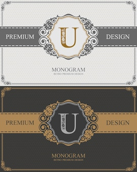 Modelo de carta emblema u, elementos de design do monograma, modelo gracioso caligráfico.