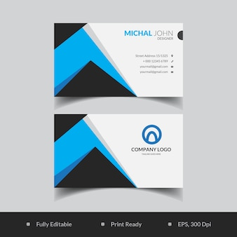 Modelo de cartão abstrato azul