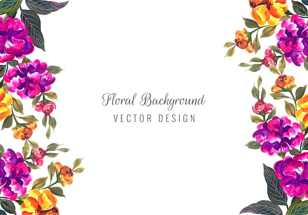 Modelo de cartão abstrato decorativo flores coloridas