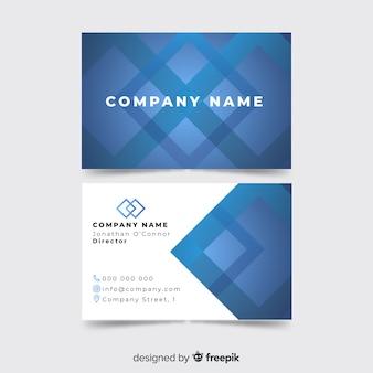 Modelo de cartão azul com formas geométricas