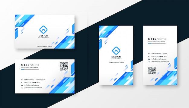 Modelo de cartão azul elegante conjunto
