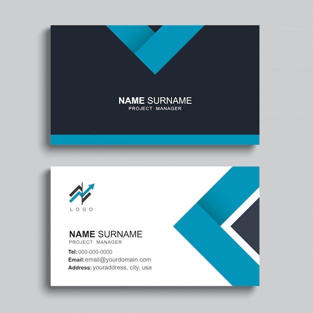 Modelo de cartão azul mínimo