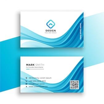 Modelo de cartão azul ondulado abstrato