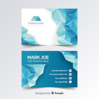 Modelo de cartão azul poligonal abstrato