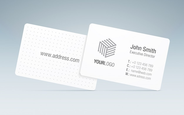 Modelo de cartão. cartão de visita elegante, com logotipo genérico da empresa, informações de contato e verso estampado.