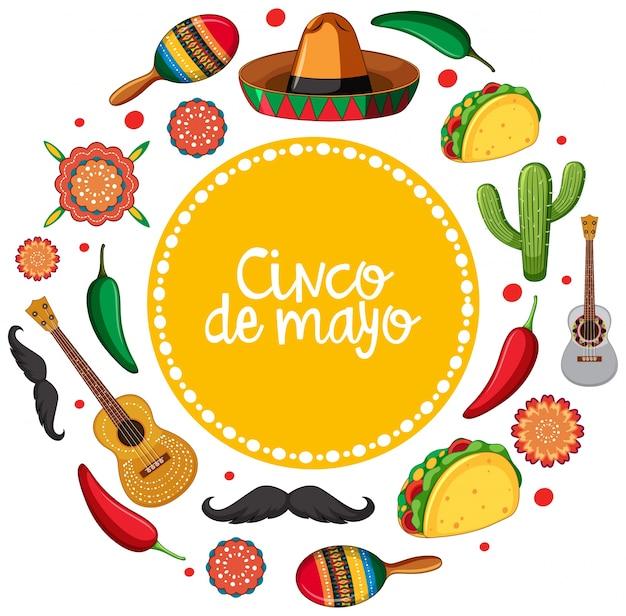Modelo de cartão cinco de mayo com instrumentos musicais mexicanos