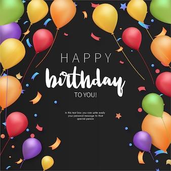 Modelo de cartão colorido feliz aniversário