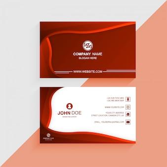 Modelo de cartão colorido lindo com onda vermelha
