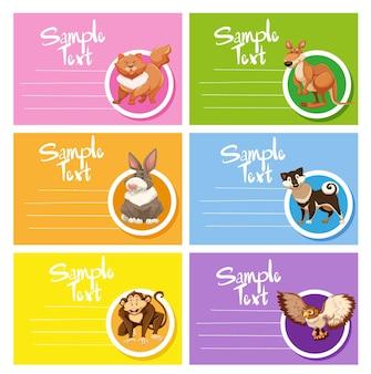 Modelo de cartão com animais fofos