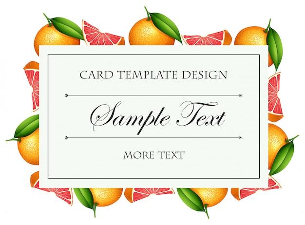 Modelo de cartão com borda de grapefruit