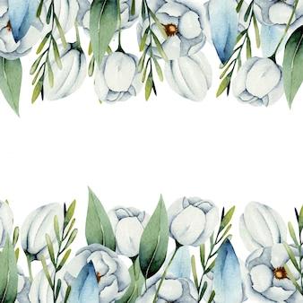 Modelo de cartão com bordas de flores de anêmona branca em aquarela