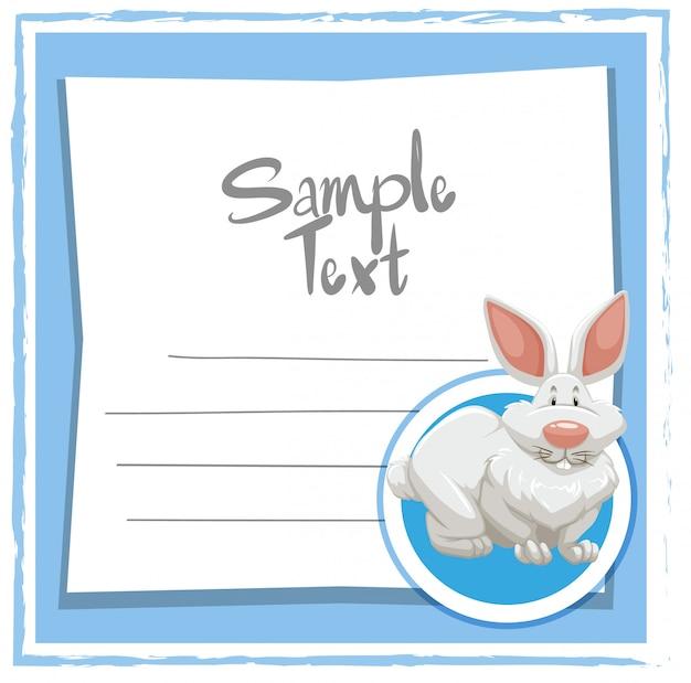 Modelo de cartão com coelho branco