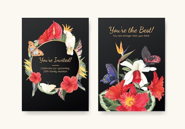 Modelo de cartão com conceito de botânica tropical, estilo aquarela