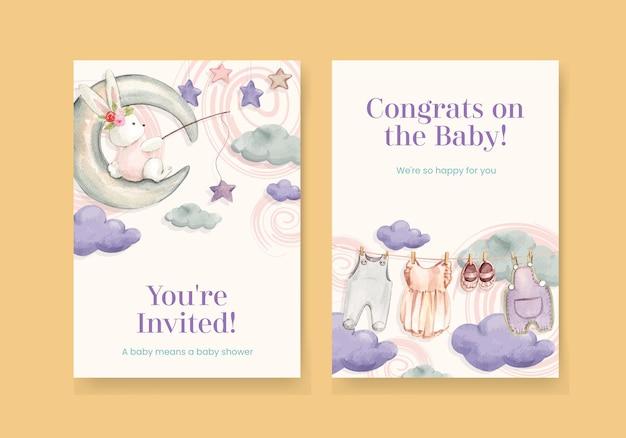 Modelo de cartão com conceito olá, bebê