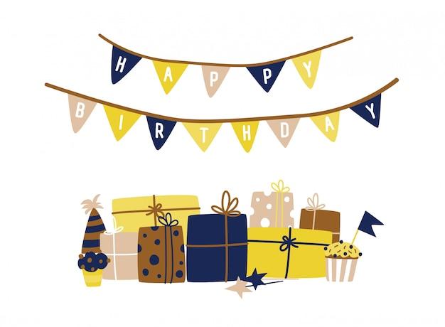 Modelo de cartão com desejo de feliz aniversário escrito na guirlanda de bandeira