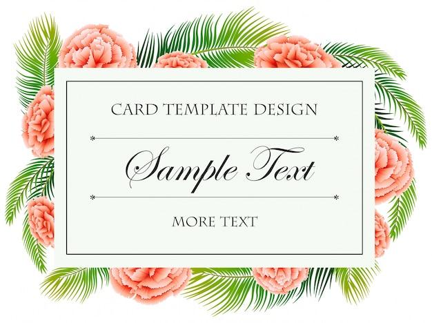 Modelo de cartão com flores de cravo rosa