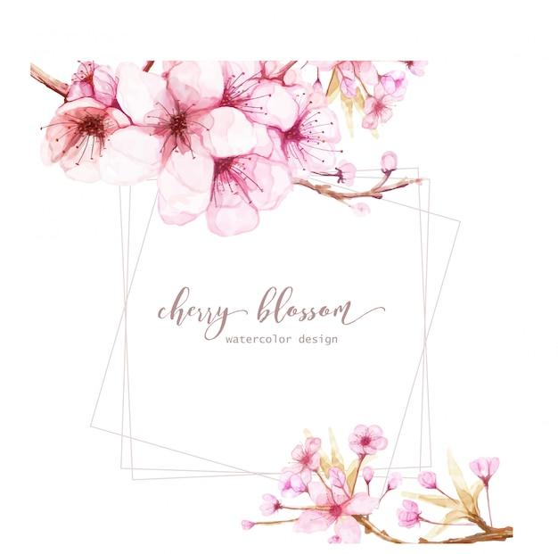 Modelo de cartão com flores em aquarela de flor de cerejeira