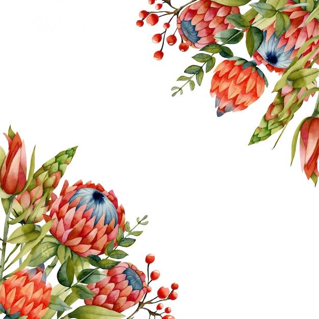Modelo de cartão com flores em aquarela protea