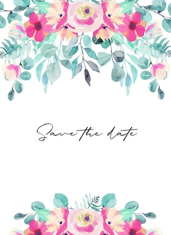 Modelo de cartão com flores em aquarela rosa, flores silvestres, folhas verdes, galhos e eucalipto